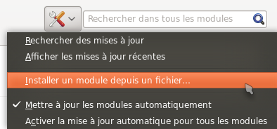 Menu d'installation d'extension de Firefox
